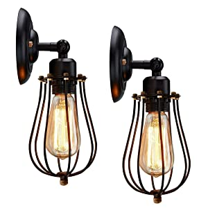 Wire Cage Wall Sconce, KingSo 2 Pack Dimmable Black Metal Industrial Wall Light Shade, Vintage Style Edison Rustic Wall Light Fixture for Headboard Bedroom Farmhouse Garage Door Porch