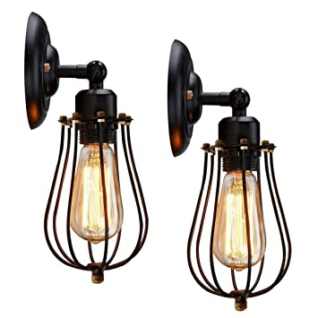 official photos 94e7e 99215 KingSo Rustic Wall Sconces 2 Pack, Wire Cage Wall Sconce, Black Hardwire  Industrial Wall Light Fixture, Vintage Style Wall Lamp for Home Decor ...