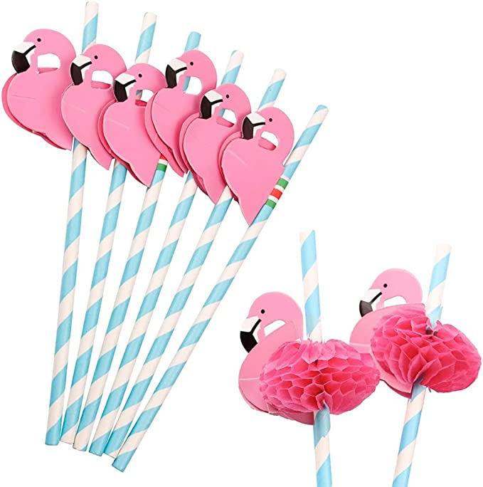 Flamingo Drinking Straws 3D Paper Pale Pink /& White Striped Party BBQ X10