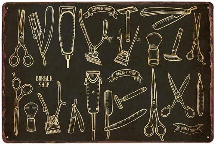 Vintage Barber Shop Metallschilder Barbershop Poster Cafe Bar Pub Retro Plaque Haarschnitt und Rasur Bart Eisenplatten 20x30 cm 63049