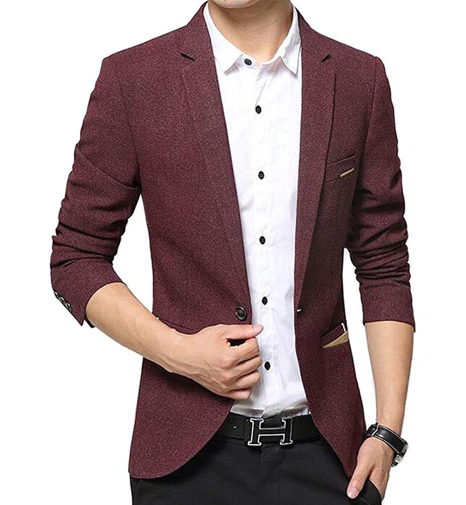 Benibos Men's Premium Casual 1 Button Slim Fit Blazer Suit Jacket(L, 619 Burgundy) UK619 Burgundy L