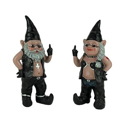 Zeckos Gnoschitt & Gnofun The Naughty Biker Gnome Couple Statues Motorcycle 13 Inch : Outdoor Statues : Garden & Outdoor