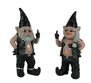 Zeckos Gnoschitt & Gnofun The Naughty Biker Gnomes Statue Motorcycle Leather 13 Inch