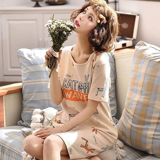 Pijama Nuevo Mono de algodón de Manga Corta para Mujer camisón Femenino Lindo algodón Suelto Servicio a Domicilio 18 M: Amazon.es: Hogar