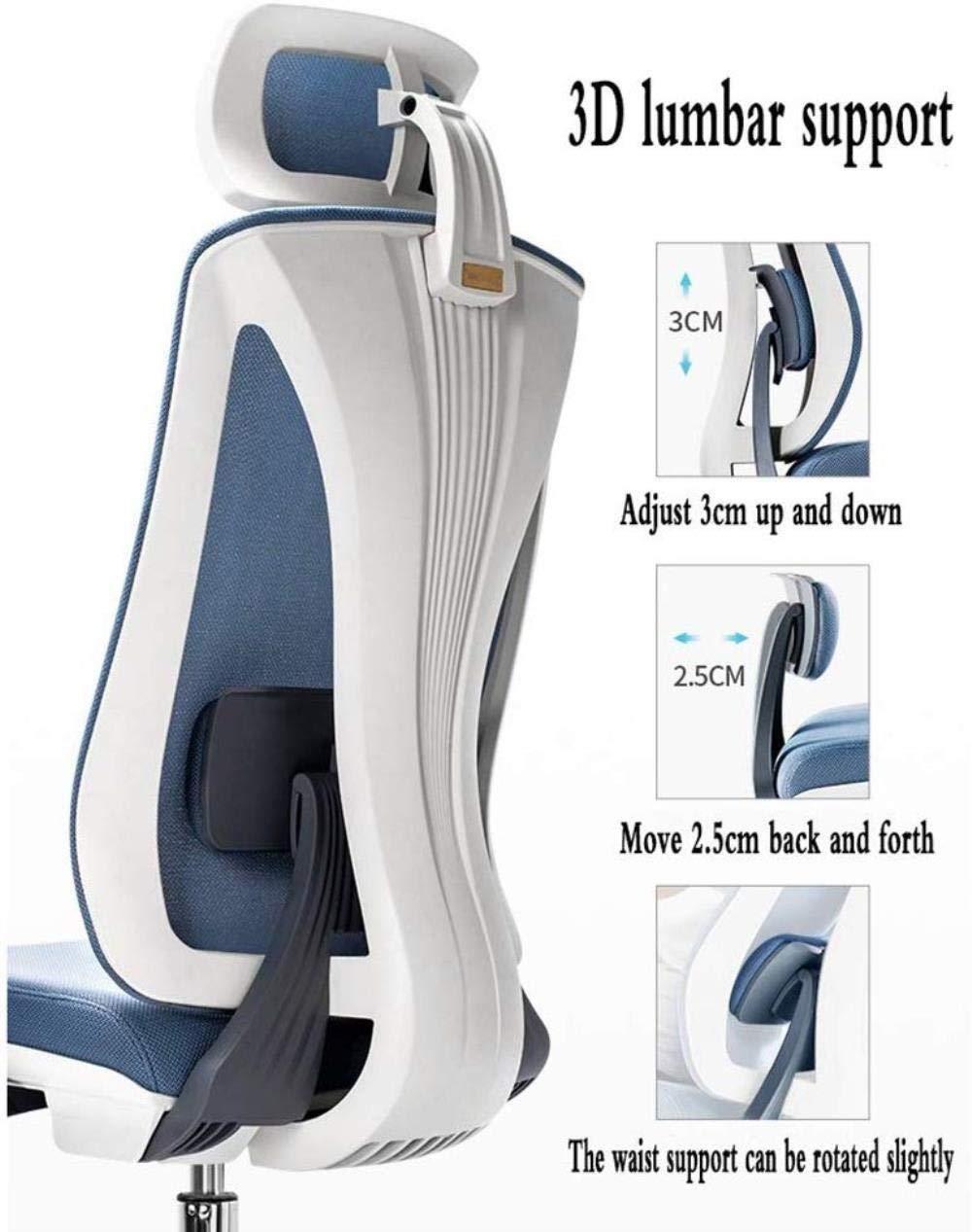 Xiuyun svängbar kontorsstol spelstol datorstol 3D ländrygg stöd hög rygg nackstöd stol lyft 130 ° avslappningsbar design E-sport sittlager vikt 200 kg (färg: blå) Svart