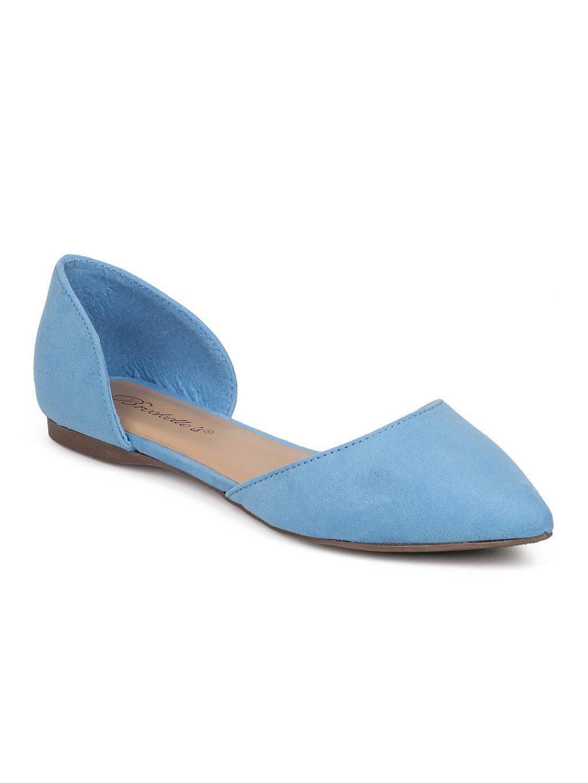 Breckelle's Women Faux Suede Pointy Toe Dorsay Flat GG19 B06XJJCHPX 8 M US|Blue