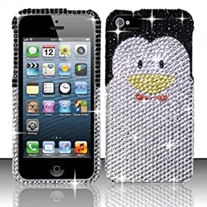 Silver Penguin Bling Gem Jeweled Crystal Cover Case for Apple iPhone 5