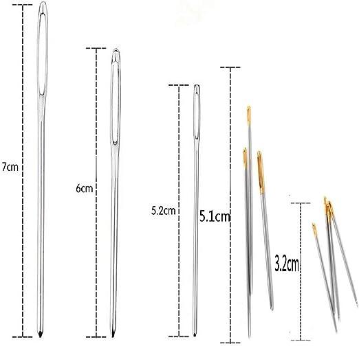Ivyday 9pcs Gro/ßes Auge N/ähnadeln Large Nadeln Sticknadeln Set Stahl Stumpfe Nadeln F/ür Leder Mit Transparentem Aufbewahrungsrohr Hand Basteln