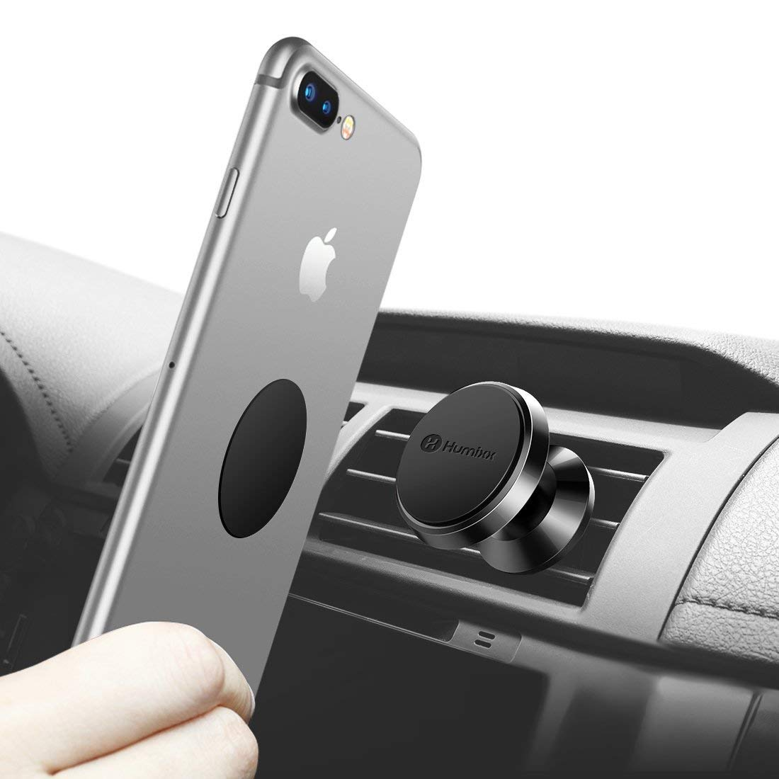 Humixx Magnetic Phone Holder for Car, 360° Adjustable Air Vent Cellphone Car Mount Holder for iPhone 8 8 Plus 7 7 Plus,Samsung S7 S8, HTC, LG, ZTE [Easy Clamping Series] (Black)