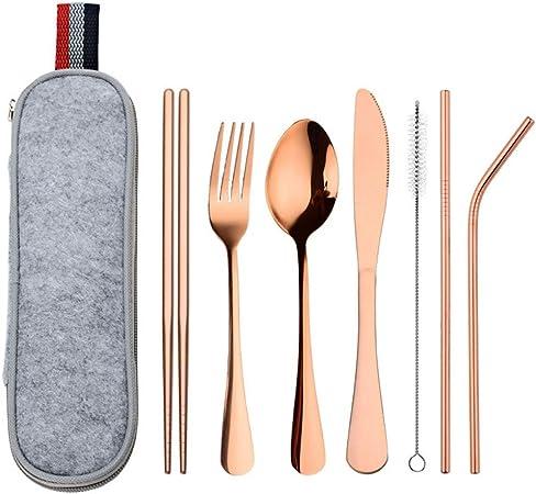 WISREMT Juego de cubiertos de acero inoxidable portátil Juego de cubiertos de viaje de 8 piezas Juego de vajilla portátil con estuche de almacenamiento para acampar/viajar: Amazon.es: Hogar