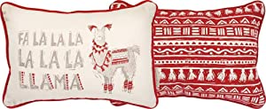 Primitives By Kathy 15 Inches x 10 Inches Cotton Fa La La La Llama Design Throw Pillow Home Decor Accessories