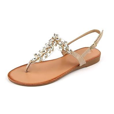 5012af471e6c MuDan Womens Shoe Braided Rhinestone Flat Sandal (6 (B) M