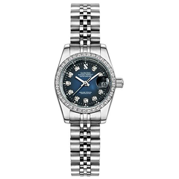 Topwatch® Sangdo Mujer diamond-accented bisel esfera azul banda de plata l Automático Reloj