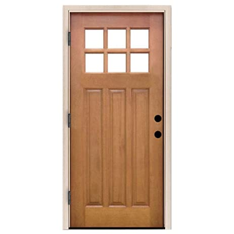 Craftsman 6 Lite Stained Mahogany Right Hand Outswing Wood Entry