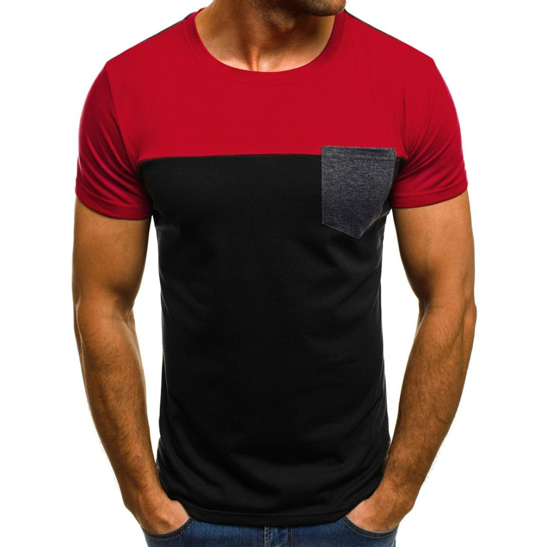 Clearance Men's T-Shirts Casual, Bestoppen Mens Summer Short Sleeve Crewneck T Shirt Polo Fashion Patchwork Tees Tops with Pockets,Slim Fit Muscle Blouse Shirt