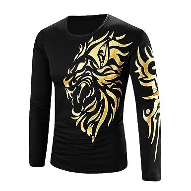 Bold Manner Herren Shirt Langarm Tops Gold Drucken Tattoo Männer  Rundhals-Ausschnitt T-Shirt 9c7b9c0237