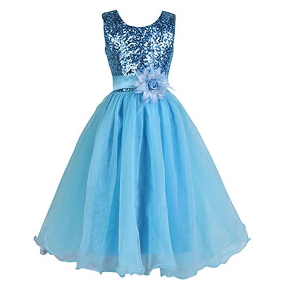 Amazon.com: Ygosoon Flower Girl Dress Blue White Red First Gowns with Floral O Neck Sequined Ball Gown Pageant Dress for Girls: Clothing
