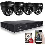 ZOSI CCTV HD 720P Video Überwachungssystem 8CH AHD DVR mit 4 Außen 720P Tag Nacht Dome Überwachungskamera Set für Innen und Außen, 1TB Festplatte, 20M IR Nachtsicht, Kabelgebunden