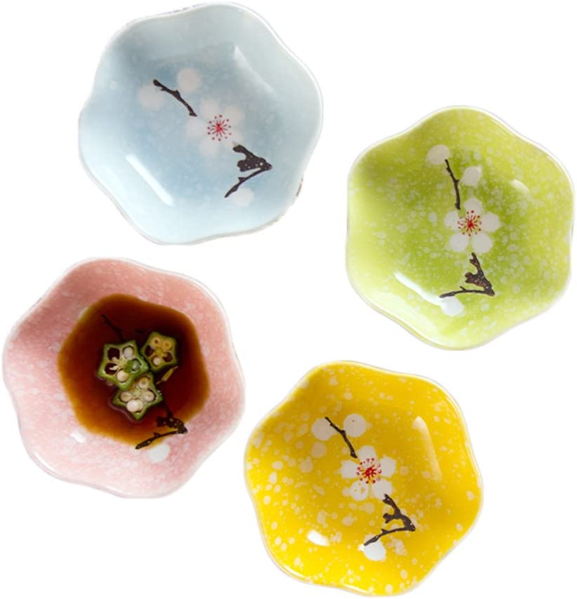 Colias Wing Plum Blossom Pattern Flower Shape Design Multipurpose Porcelain Side Dish Bowl Seasoning Dishes Soy Dipping Sauce Dishes-Set of 4 Blue//Green//Pink//Yellow//Colorful