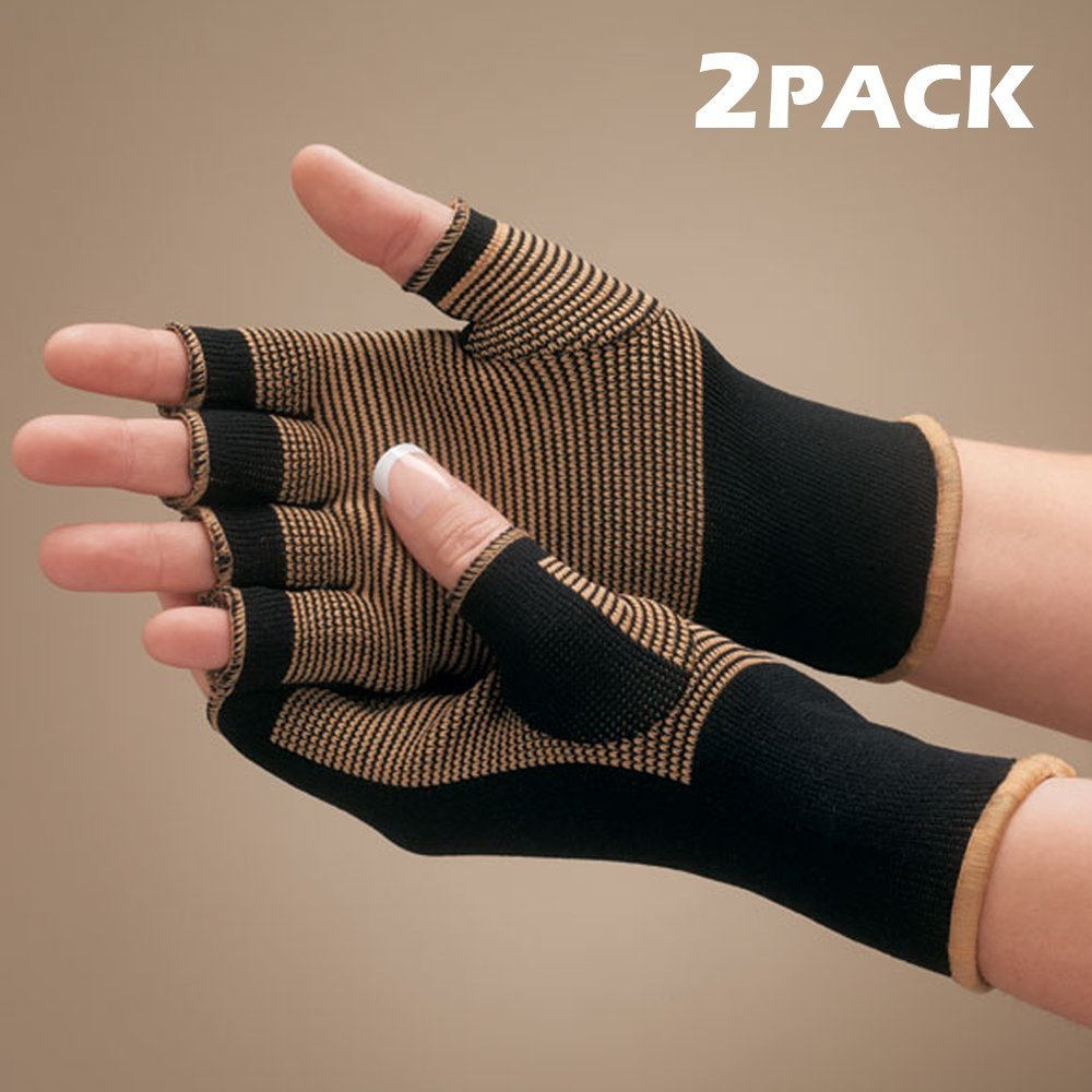 Copper Bamboo Compression Therapeutic Arthritis Pain Relief Support Gloves - Improve Mobility, Ease Joint Pain, Comfort and Soothing Joints (2 pack)