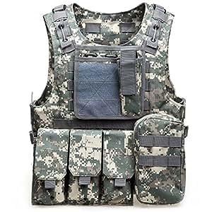 Chaleco Táctico Molle para Paintball Airsoft Chaleco de Combate Suave Molle Táctico Militar para juegos al aire libre  Caza y tiro, 000, ACU Camouflage
