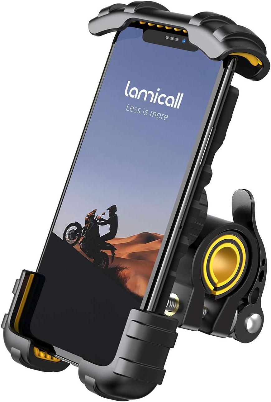 Soporte Movil Bicicleta, Lamicall Soporte Motocicleta - Rotación 360° Soporte Manillar para iPhone 12 Mini, 12 Pro Max, 11 Pro, XS Max, X, XR, 8, 7, 6S, Samsung S10 S9 S8, Huawei, 4.7-6.8