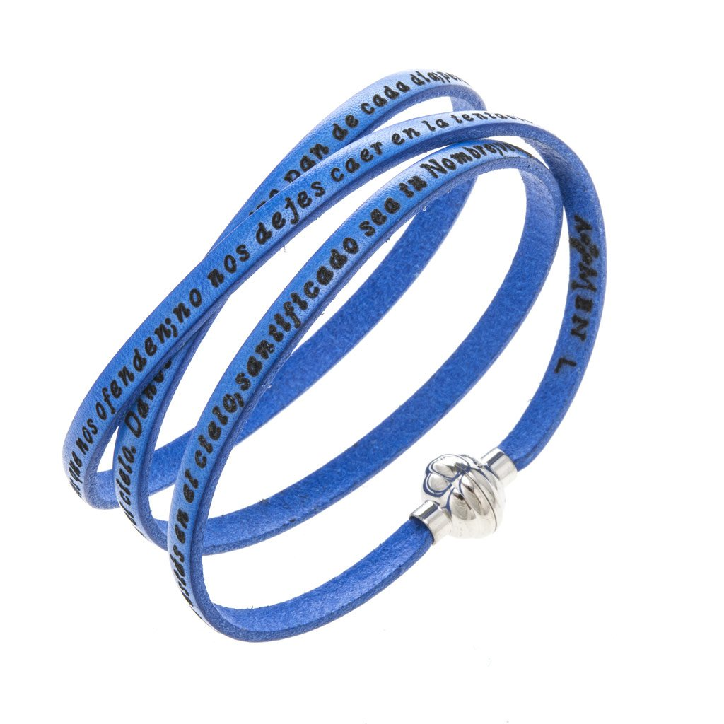 Holyart Amen Bracelet in blue leather Our Father SPA, 57 cm (22.46 inc.)