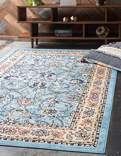 (Unique Loom Kashan Collection Traditional Floral Overall Pattern with Border Light Blue Area Rug (4' x 6'))