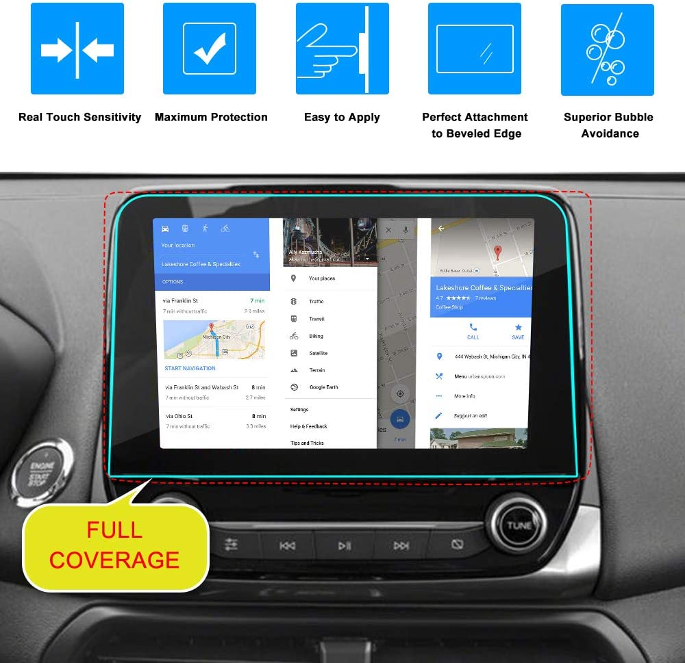 J/&D Compatible for 2018-2020 Ford Ecosport//2019-2020 Ford Focus//2020 Ford Escape 8 inch Car Navigation Screen Protector Tempered Glass 1-Pack Ford Ecosport HD Clear Ballistic Glass Screen Protector