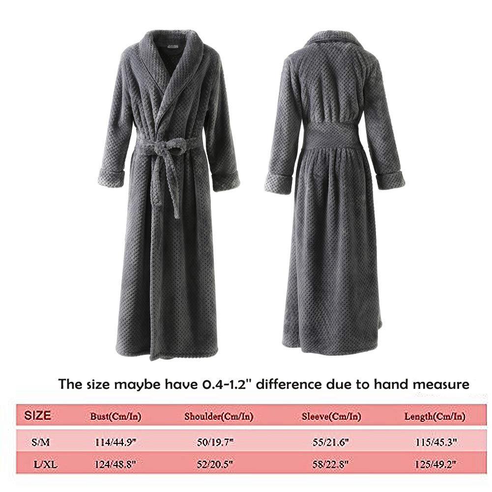 Womens Long Thick Fleece Robe Warm Waist Belt Plush Bathrobe(Gray,S/M)