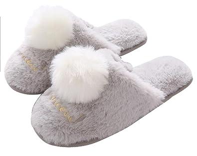 fe41ff7c138 FreLO Women s Grey Plush Pom-pom Bedroom Slippers Cute Fuzzy Slippers ...