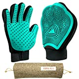 Poppin Pets Pet Grooming Gloves 2-in-1 Fur Removal & Furniture Pet Mitt & 5-Finger Gentle Rubber Deshedding Glove | for Massage, Shedding, Bathing, Grooming of Dogs, Cats Livestock & More