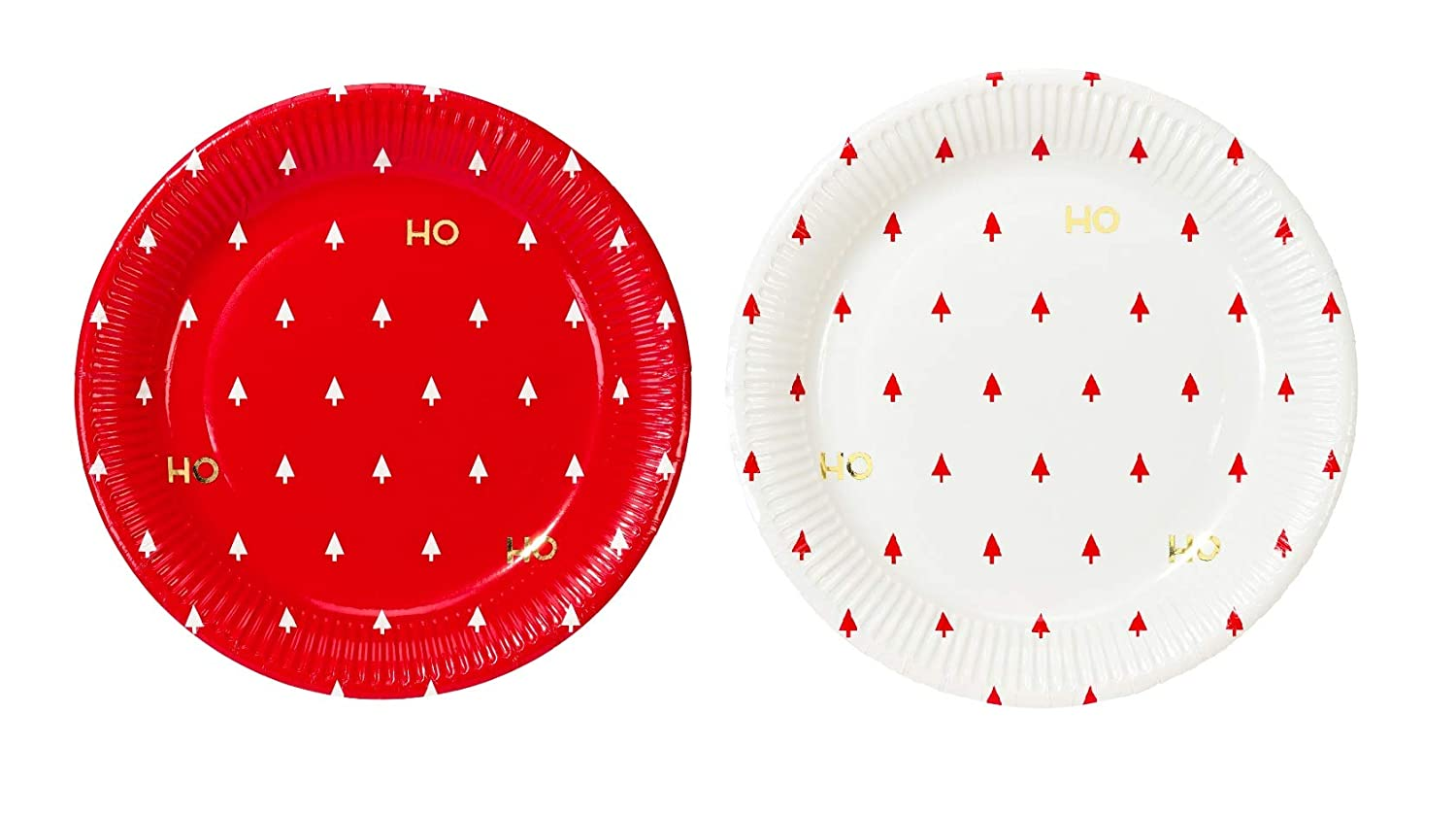 Talking Tables Christmas Table Decorations | Christmas Paper Plates | Ho Ho Ho White, Red And Gold Christmas Plates | 12 Count HO-PLATEV2