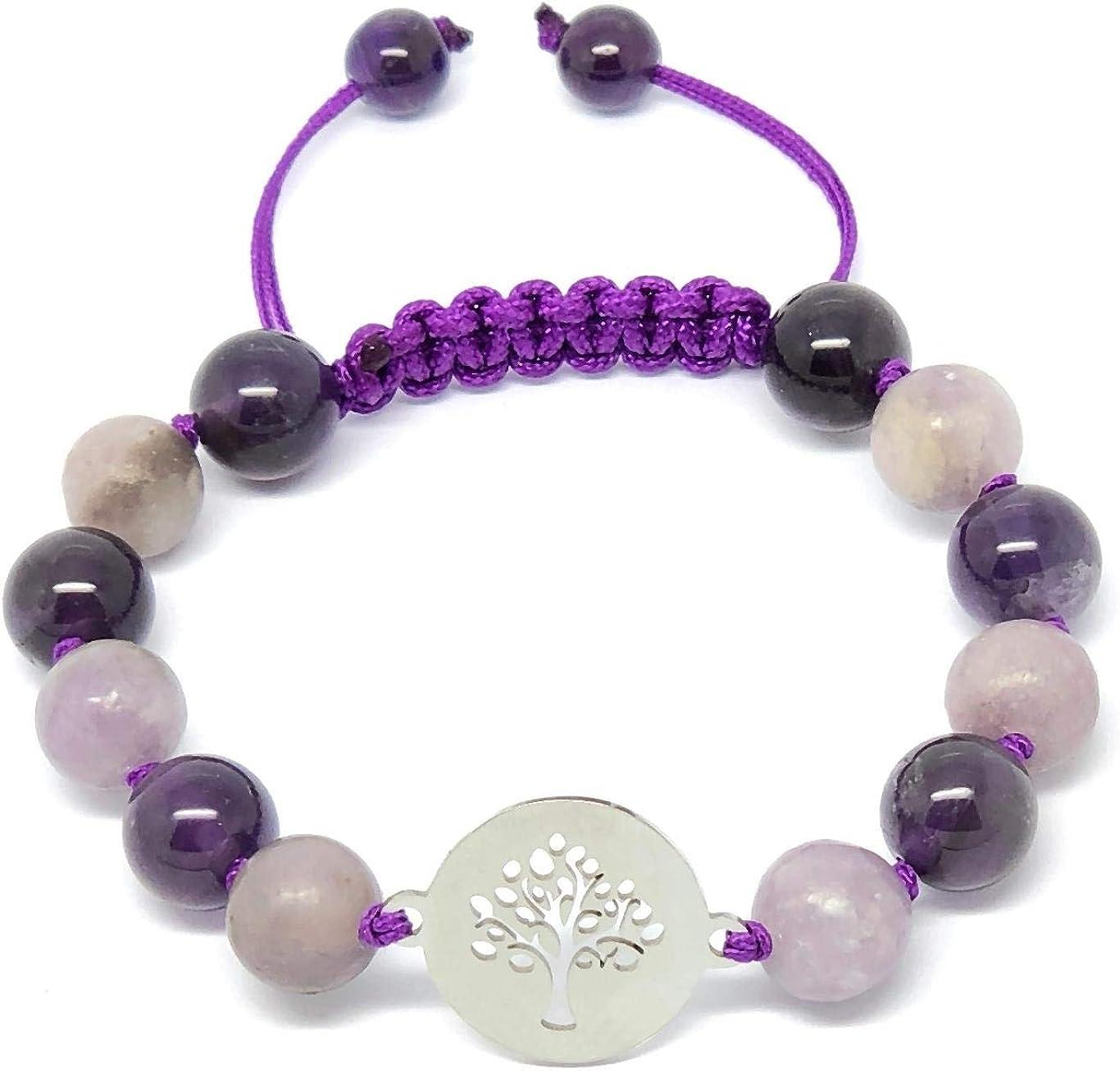 Jiveli cuentas de piedras preciosas pulsera de 8 mm anudada colgante colgante de macramé - se adapta a niños y adultos - para chakra, reiki, piedra de nacimiento, equilibrio energético