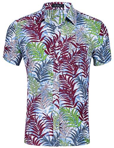 XI PENG Men's Tropical Short Sleeve Floral Print Beach Aloha Hawaiian Shirt (Red Green Palm Leaves, XX-Large)