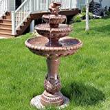Sunnydaze Three-Tier Dove Pair Outdoor Garden Water Fountain, 43 Inch Tall