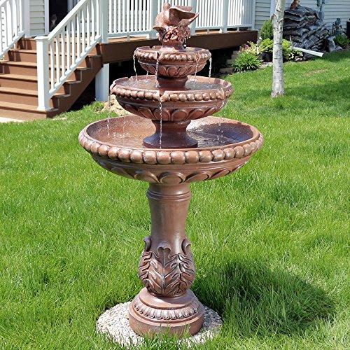 Fountain Outdoor Cement (Sunnydaze Three-Tier Dove Pair Outdoor Garden Water Fountain, 43 Inch Tall)