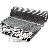Cacala - Toalla de baño turca 100% algodón pestemal, Negro, 37 x 70, 1