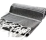 Cacala 100% Cotton Pestemal Turkish Bath Towel, 37 x 70, Black
