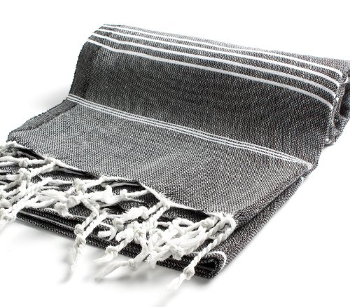 Cacala 100% Cotton Pestemal Turkish Bath Towel, 37 x 70, Black by Cacala