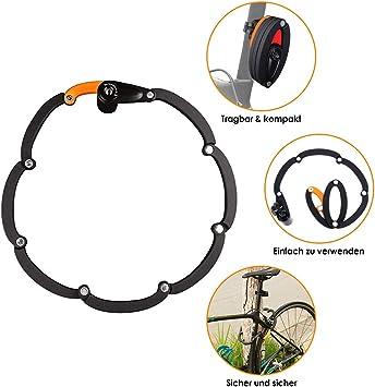 WOTOW Candado plegable para bicicleta con soporte, nivel de ...