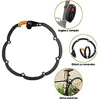 WOTOW Candado plegable para bicicleta con soporte, nivel de seguridad 10 alto con 3 llaves, para bicicleta de montaña…