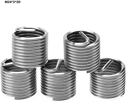 100 st/ücke Gewinde Reparatureinsatz Edelstahl Spiraldraht Helical Gewindeeins/ätze M6 x 1,0 x 1D
