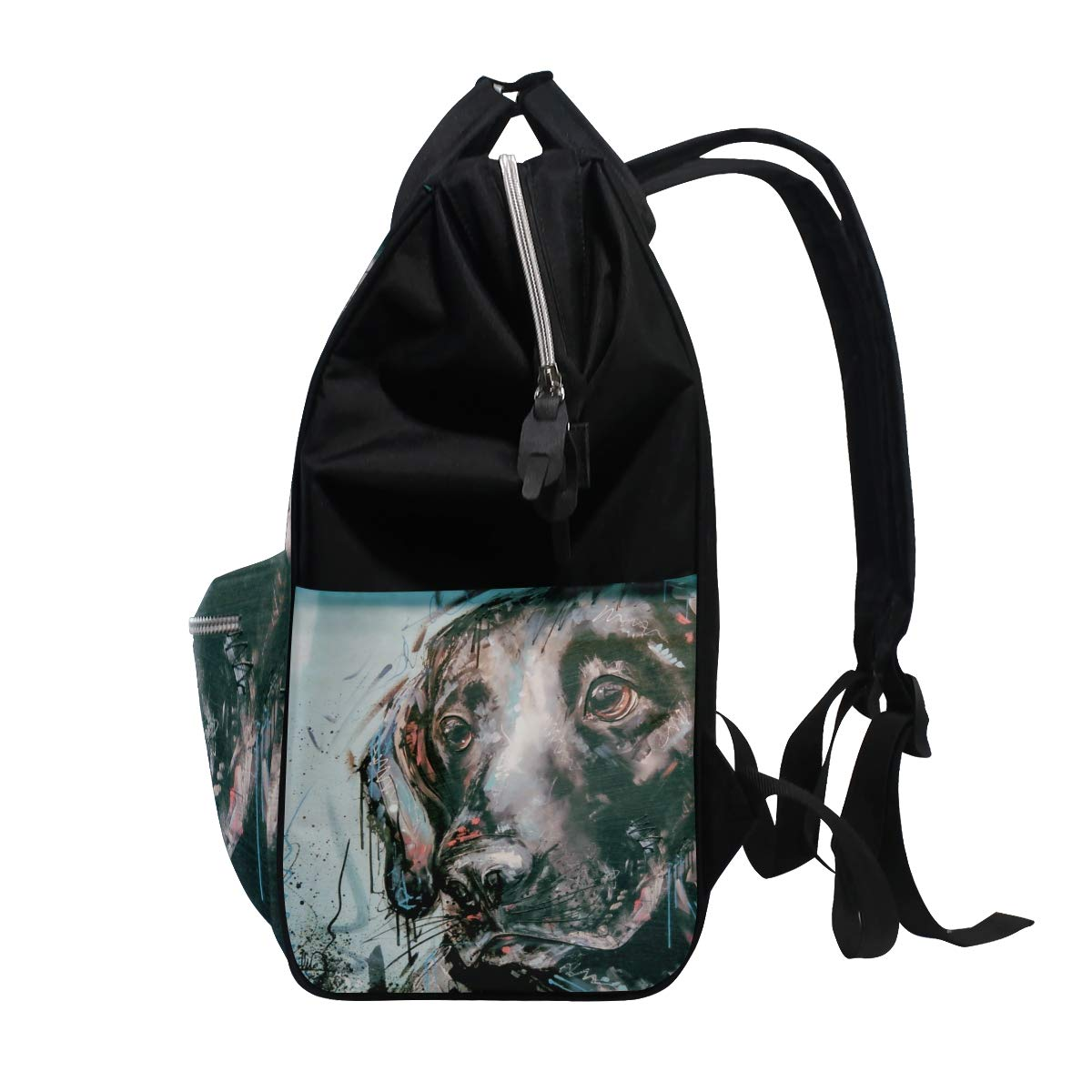 imobaby Abstract Labrador Retriever Head Changing Bags Large Capacity Handbags Canvas Shoulder Bag Backpack