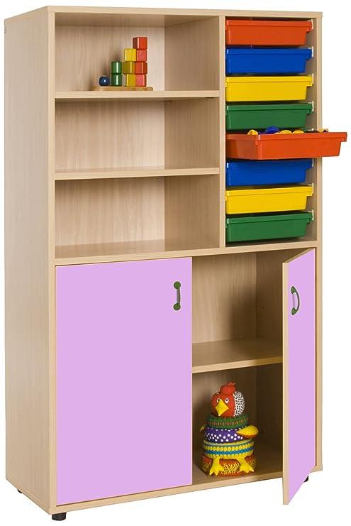 Mobeduc Armadio con libreria e vassoi, Legno, Rosa, 90 x 147 x 40 cm ...