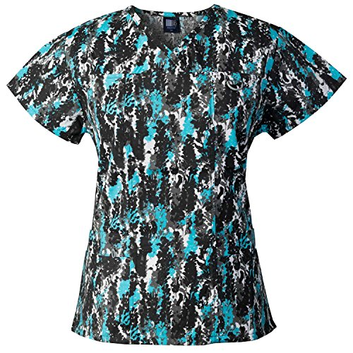 Medgear Women's Printed Scrub Top, ID Loop & 4 Pockets Medical Uniform GVAQ