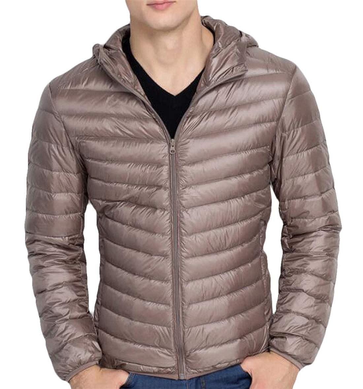 GRMO Men Warm Packable Hooded Lightweight Slim Zip Front Down Jacket