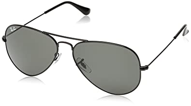 bdda8e3360 Ray-Ban RB 3025 L2823 58 Unisex Aviator Large Black Metal Green G-15