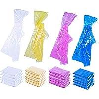 Ponchos de Lluvia Desechables de Emergencia para niños con Capucha (Paquete de 20) - Transparente, Amarillo, Rosa, Azul