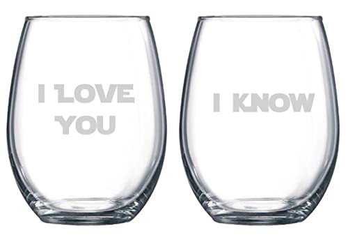 Star Wars Inspired I Love You I Know Etched Stemless Wine Glass, Engagement Gift, Wedding Wine Glass, Nerd Wedding, Valentines Day Gift, Boyfriend Girlfriend Anniversary gift, couples gift